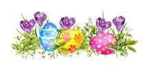 Row Of Easter Eggs With Crocus Flowers, Fresh Green Grass. Watercolor