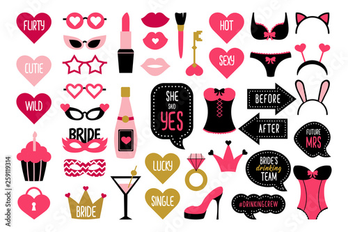 Set of hen party photo booth props Canvas Print