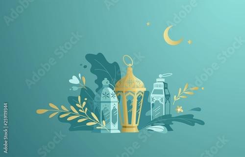 Fotografia Hand Drawn Illustration of Ramadan Lanterns with Floral Elements