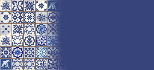 Blue Portuguese tiles banner - Azulejos fashion interior design tiles, banner template