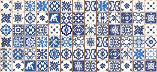 Blue Portuguese tiles pattern - Azulejos vector, fashion interior design tiles Fototapet