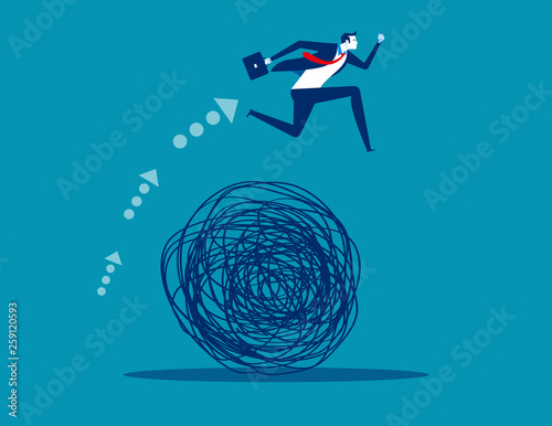Fototapeta Businessman avoiding trouble. Concept business vector illustration, Mess, Doodle, Problem, obraz