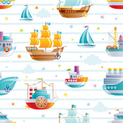 Cartoon watet transport seamless pattern. Cute 3d baby boy toys. Boat, galleon, sail ship wallpaper design. Fun vector illustration isolated set on blue stripes, clouds, stars hand drawn background