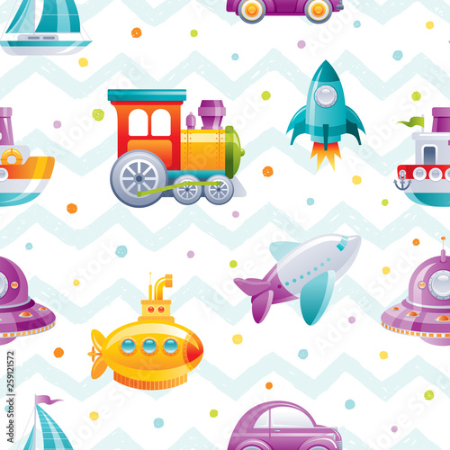 wzor-kreskowka-zabawka-transportu-sliczna-3d-chlopiec-lodz-samochod-samolot-lodz-podwodna-zagiel-statek-pociag-rakieta-tapety-ilustracja-wektorowa-zabawy