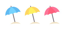 Colorful Sun Umbrellas Icons.