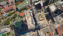 Sunny Day Singapore City Center Building Construction Aerial Topdown Panorama 4k Timelapse