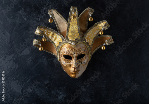Venetian mask on a black background Canvas Print