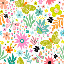 Seamless Floral Pattern With D...