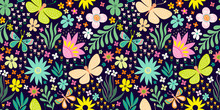 Seamless Floral Pattern With Hand Drawn Flowers And Plants