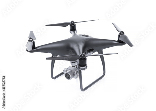 Fotografía Black drone with camera isolated on white background