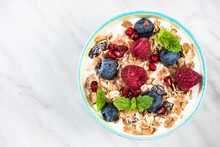 Bowl With Cereal,granola, Milk And Fresh Berry Fruits
