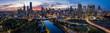 Leinwandbild Motiv Panoramic image of a stunning sunset over the city of Melbourne, Australia