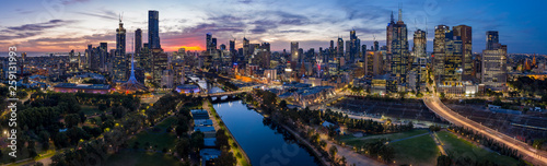 Panoramic image of a stunning sunset over the city of Melbourne, Australia
