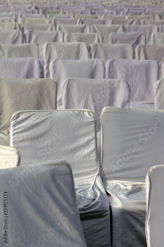 Sitting with white covers in the meeting room Canvas Print