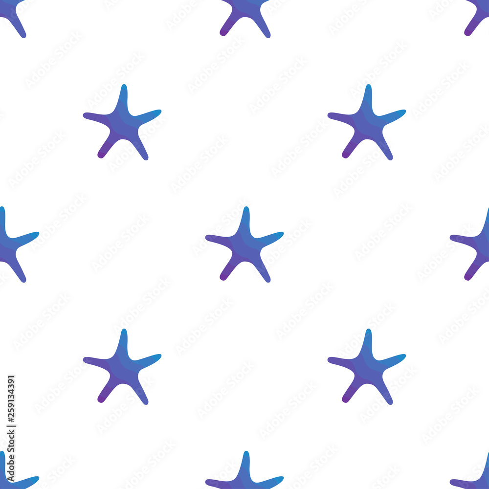 Vector illustration seamless pattern. Marine tropical design. Blue gradient silhouette of sea creatures - starfish