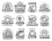 Coffeeshop And Coffeehouse Coffee Cup Line Icons