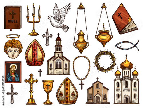 Christianity religion orthodox, catholic symbols
