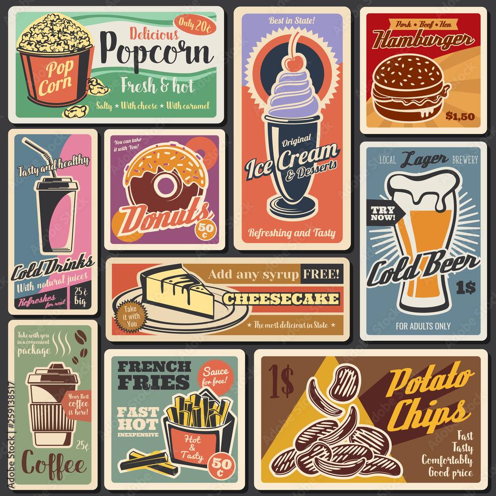 Fototapeta Fast food burgers, hot dogs, desserts retro menu