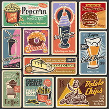 Fast Food Burgers, Hot Dogs, Desserts Retro Menu