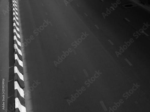 Keuken foto achterwand Leder asphalt road texture with white dashed line