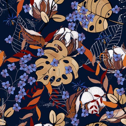 tapetowa-botaniczna-wektorowa-ilustracja-z-reka-rysujaca-kwitnie-bawelne-fantazja-kwiecisty-bezszwowy-wzor