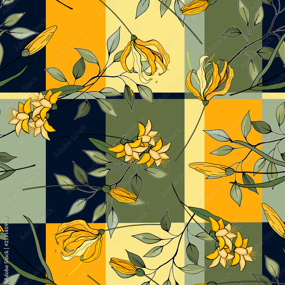 Hand drawn floral vector illustration. Japanese garden seamless pattern spring Asia flowers.