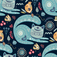 Tribal Cat Seamless Vector Pattern.