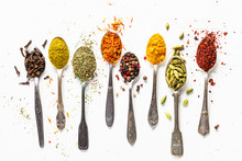 Set Of Indian Spices In Spoons...