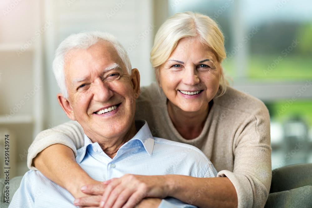 Fototapeta Happy senior couple at home