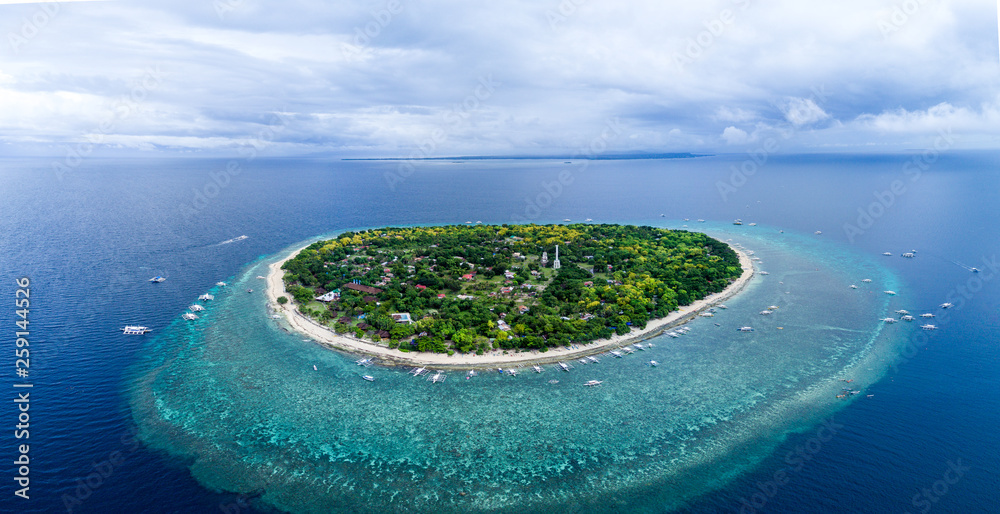 Fototapety, obrazy: Aerial Drone Panorama Picture of Balicasag Island in Bohol in the Philippines