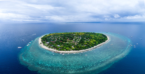 Aerial Drone Panorama Picture of Balicasag Island in Bohol in the Philippines