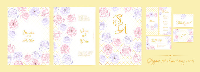 Floral Wedding Invite in Pastel Colors.