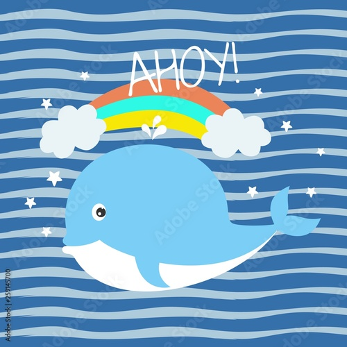 Greeting card with charming little whale on background with blue stripes.