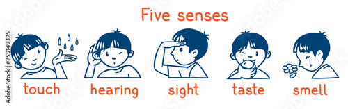 Foto  Five senses monochrome icon set. Boys illustration