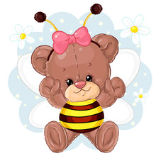 Cute Teddy Bear In A Bee Costume. Children's Character.
