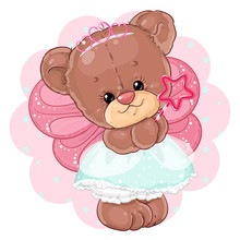 Cute Teddy Bear Princess In Fairy Costume. Children's Character.