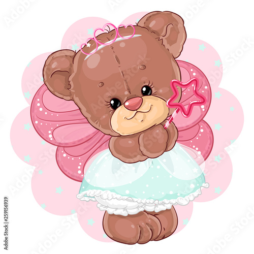 Photo  Cute teddy bear princess in fairy costume. Children's character.