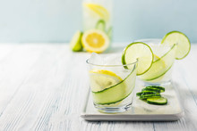 Refreshing Summer Drinks, Iced Cucumber Lime Cocktail. Selective Focus, Space For Text.