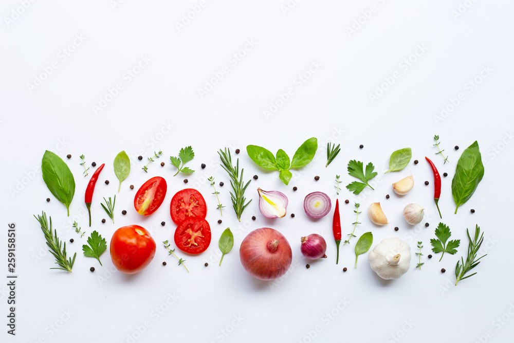 Fototapety, obrazy: Various fresh vegetables and herbs on white background. Healthy eating concept