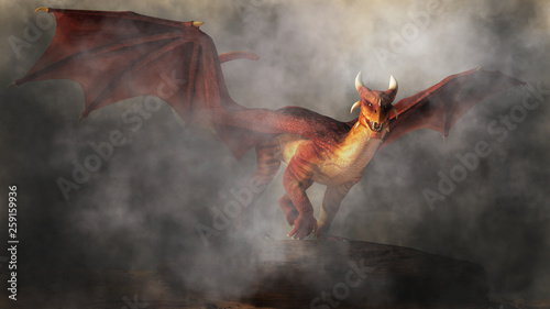 A red dragon emerges from fog and smoke. The monster of myth, fantasy and legend glares at you with a look of malice as it comes towards you. 3D Rendering