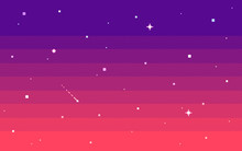 Pixel Art Star Sky At Evening....