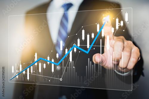 Obraz na płótnie Data analytics report and key performance indicators on information dashboard fo
