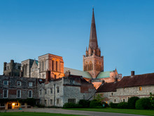 UK, England, Sussex, Chichester Cathedral Dusk