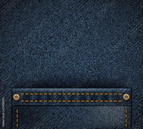 Photo Empty pocket on denim texture. Vector fabric background.