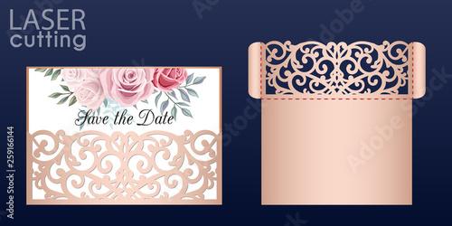 Fotomural Laser cut wedding invitation card template vector