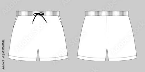Valokuvatapetti Technical sketch sport shorts pants design template.