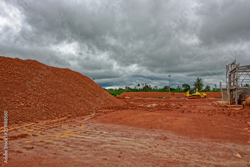 Industrial machinery for transhipment of bauxite ore from mining Canvas Print