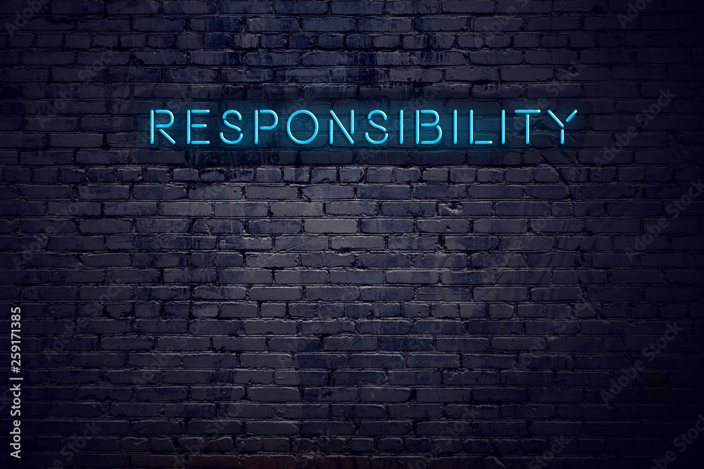 Fototapeta Brick wall and neon sign with text responsibility