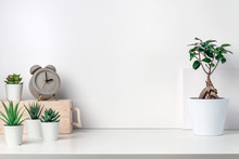 White Desk Next To An Empty Wall. Copy Space. Green Succulents, Bonsai, Wooden Box And Concrete Clock. Bright Composition