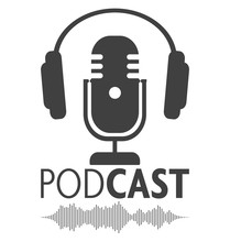 Podcasting Symbol With Microph...